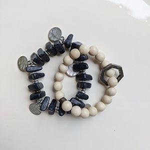 Pair of Bohemian Bracelets Stretchy Stone Beads